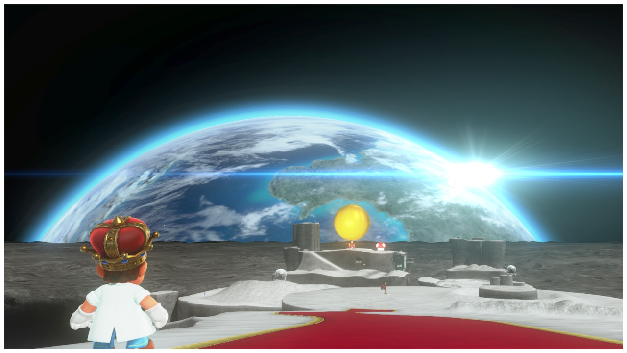 Mario looking at the earth
